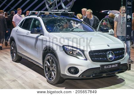 Frankfurt-September 20: Mercedes-Benz GLA 220 4matic at the Frankfurt International Motor Show on September 20 2017 in Frankfurt