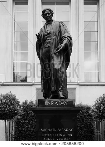 Faraday Monument In Savoy Place In London Black And White