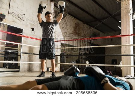 Male Boxer Defeating An Opponent