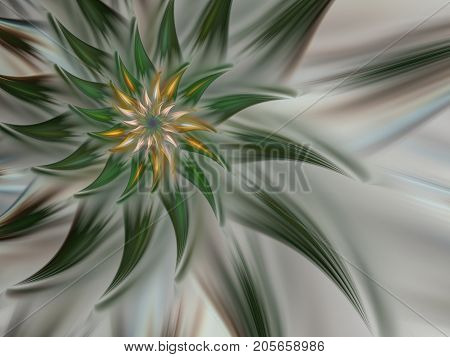 An abstract computer generated modern fractal design on dark background. Abstract fractal color texture. Digital art. Abstract Form & Colors. Abstract fractal element pattern for your design. Green mysterious spiral flower