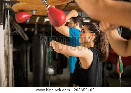 Using Speed Bag In A Boxing Gym