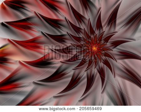 An abstract computer generated modern fractal design on gray background. Abstract fractal color texture. Digital art. Abstract Form & Colors. Abstract fractal element pattern for your design. Mysterious fire flower. Spiral dance of fire
