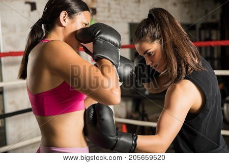 Woman Throwing A Hook During Box Fight