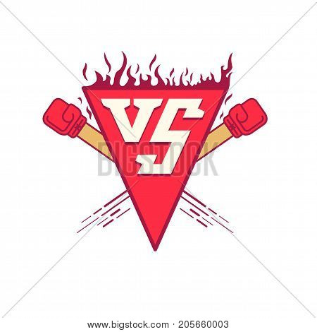 Vector illustration symbol VS with fire. Illustration versus fight emblem with fire and red punches