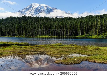 Mount Rainier and reflection lake in the late evening light
