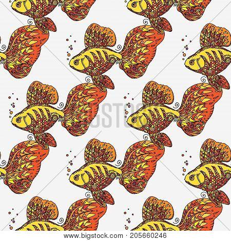 Golden Fish. Seamless Background Pattern