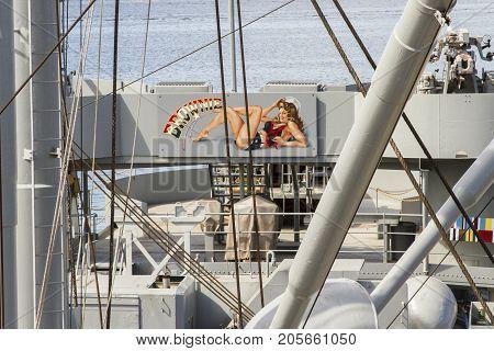 Art Work On Deck Of Uss John W Brown Liberty Ship