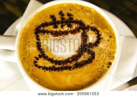 cup with fragrant coffee european, milk, drink, flavor, daily, cup, heat