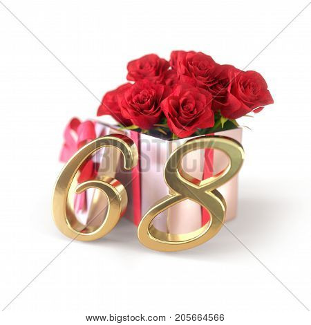 birthday concept with red roses in gift isolated on white background. 3D render - sixty-eighth. 68th.