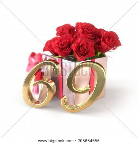 birthday concept with red roses in gift isolated on white background. 3D render - sixty-nineth. 69th.