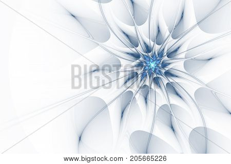 An abstract computer generated modern fractal design on white background. Abstract fractal color texture. Digital art. Abstract Form & Colors. Abstract fractal element pattern for your design. Bright marine flower star. Beautiful abstract fractal flower b