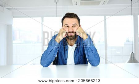 Bored Man Feeling Upset, Boring At Work