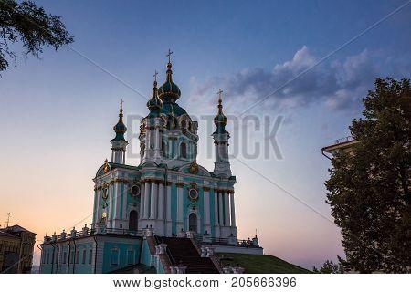 St Andrew's Church at sunset  Kiev, Ukraine.