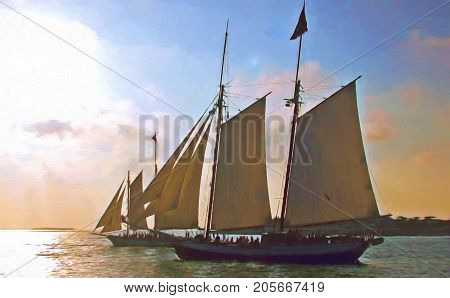 A digitally enhanced photo of two sailing ships off the coast of Key West in the evening