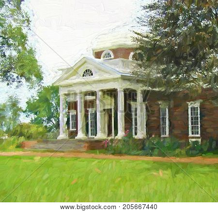 A digitally enhanced photo of Thomas Jefferson's residence Monticello