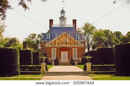 A digitally enhanced photo of the Governor's Palace in Colonial Williamsburg Virginia