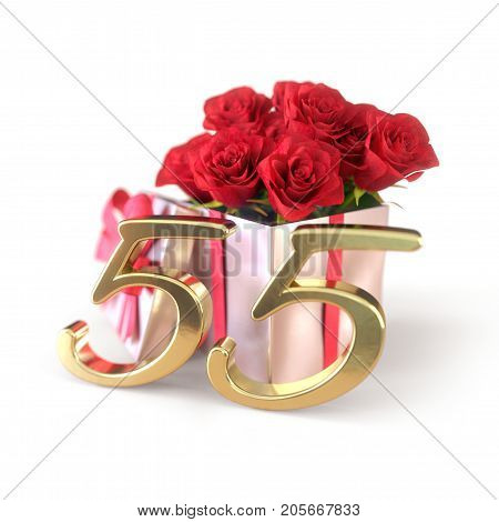 birthday concept with red roses in gift isolated on white background. 3D render - fifty-fifth birthday. 55th