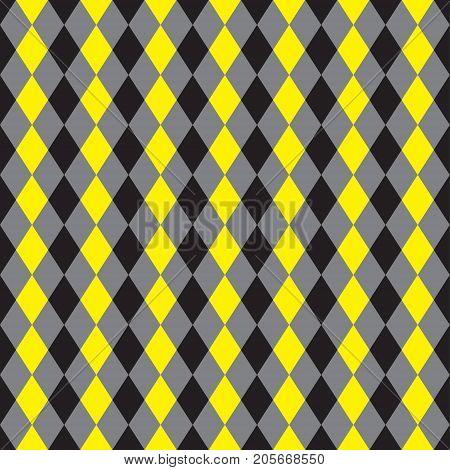 Seamless yellow and black argyle pattern background