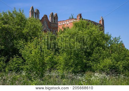 Overgrown by trees ruins of castle in Ryazan region