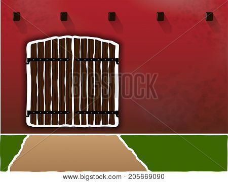 Huge and old wooden gates on a dirty burgundy wall. Sesto for dough. Border and access right. Protected area