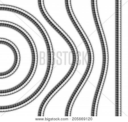 Set of shower hoses. Curved wavy arcing straight repeatable shower pipe segments. Vector realistic illustration.