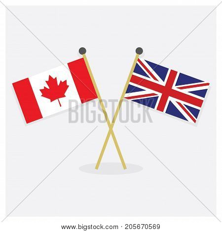 Crossed Canada flag and Union Jack icons with shadow on off white background