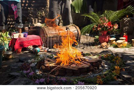 January 31 2015 San Pedro la Laguna Guatemala: fire burning at a Mayan shamanic rituals