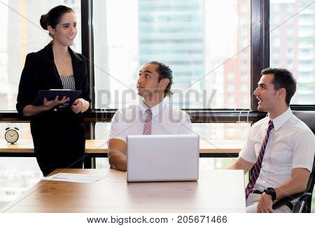 business people talking about the term of their business relationship