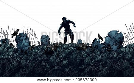 Halloween grave zombie background as a creepy walking monster in a blank area for text as a spooky dead scary ghost as an autumn holiday greeting isolated on white with 3D illustration elements.