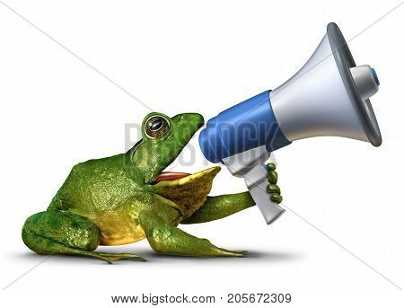 Frog announcer as a green amphibian holding a megaphone or bullhorn shouting a message as a promotion advertising and marketing symbol with 3D illustration elements.