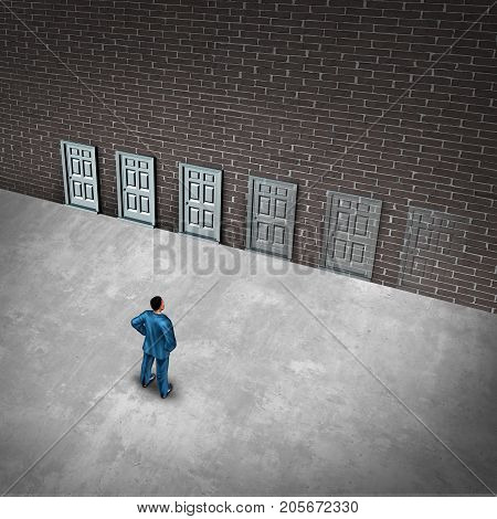 Fading opportunities business concept and limited chances for success opportunity as a group of doors gradually disapearing as a metaphor for losing career choices or job scarcity with 3D illustration elements. poster