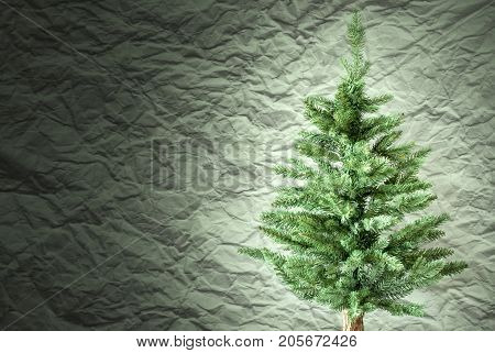 Crumpled Paper Background WIth Copy Space For Advertisement. Headlight On Christmas Tree Or Fir Tree In Front Of Textured Background.