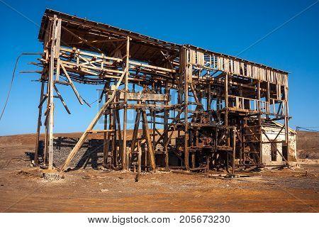 Wooden building, pulley system in abandoned salt mine in Pedra de Lume. Cape Verde