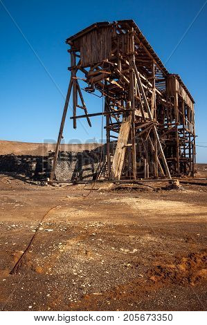 Wooden shed remains of salt transportation infrastructure in Cape Verde, Africa