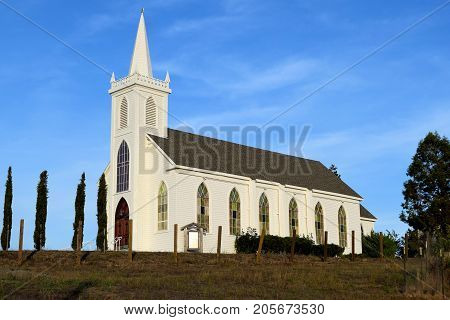 Historic Saint Teresa of Avila Church which is a historic rustic cathedral built in 1859 on a hill in the center of town taken in Bodega, CA