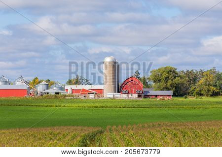 Red barn outbuildings silo and corn field panorama in the American Midwest.