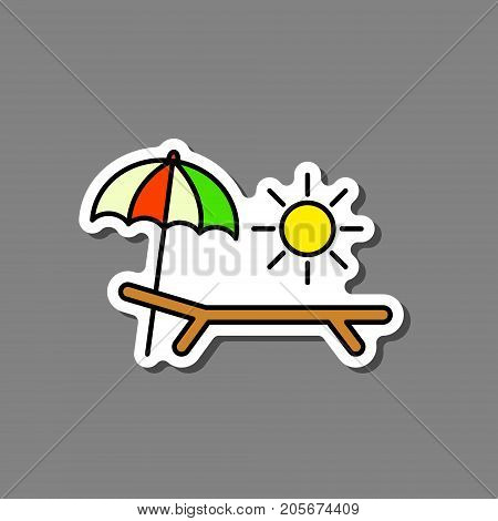 Deck-chair sun and umbrella on a beach sticker. Relaxation travel vacation symbol. Vector.