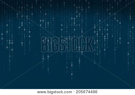 Abstract Binary Code Background. Falling, Streaming Binary Code Background. Digital Technology Wallp