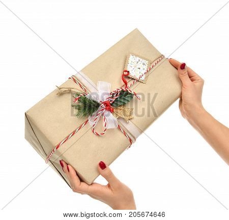 Hands hold new year 2018 christmas present gift isolated on white background