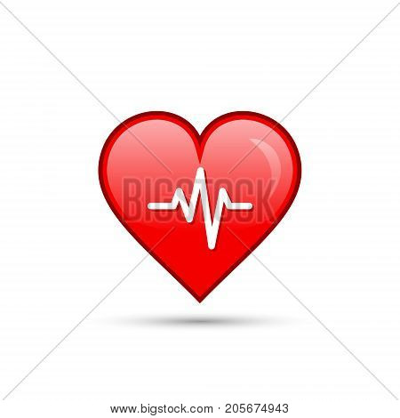 Red heart beat cardiogram isolated icon on white. Vector.