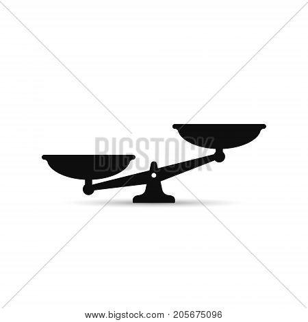 Scales icon. Vector black scale silhouette illustration.