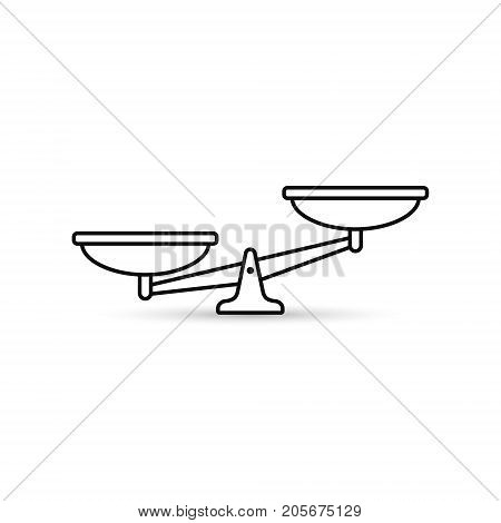 Scales line icon. Vector outline scale illustration.