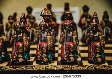 Chess game with Inka chips . .