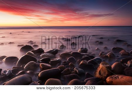 Sunset on the beaches of Australia. Shot at Hallet Cove, South Australia.