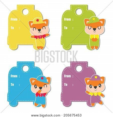 Cute fox boys vector cartoon illustration for birthday gift tag design, label tag and sticker set design
