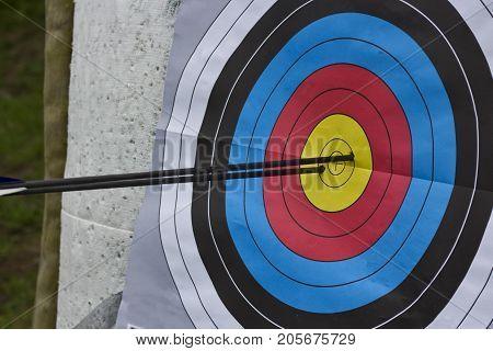 Two arrows shot inside the bullseye of a paper target.