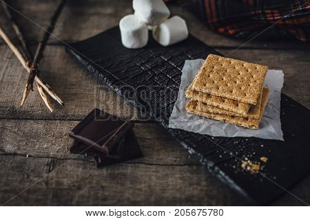 Graham crackers chocolate and marshmallows for smores