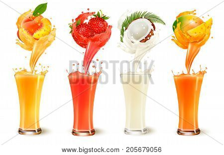 Set of fruit juice splash in a glass. Strawberry peach coconut and mango. Vector