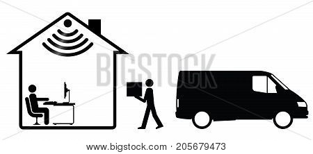 Representation of online shopping and home delivery isolated on white background