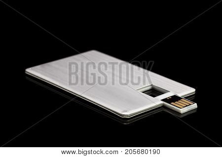 Credit Card Memory Stick Isolated On Black Background